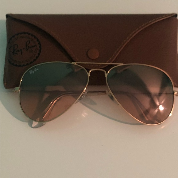 77d56ba5d Ray-Ban Accessories | Rayban Aviator Gold Framebrown Mirrored Lens ...
